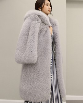 Hooded Fox Fur Long Coat