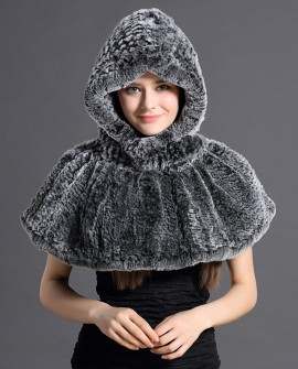 Hooded Knitted Rex Rabbit Fur Capelet