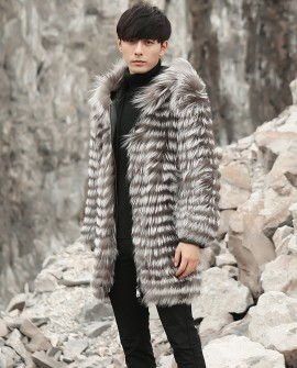 Hooded Men's Silver Fox Fur Coat
