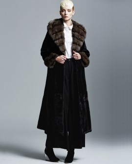 Hooded Mink Fur Long Coat with Sable Fur Collar and Cuffs