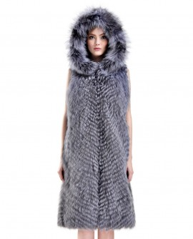 3/4 Length Hooded Silver Fox Fur Vest