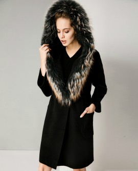 Hooded Woolen Coat With Raccoon Fur Trimming