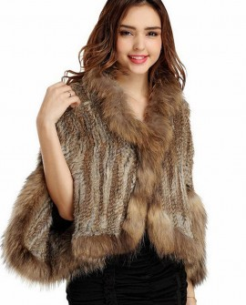 Knitted Rabbit Fur Cape with Raccoon Fur trim