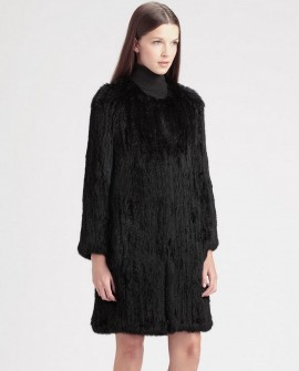 Knitted Rabbit Fur Coat 722 Black 1