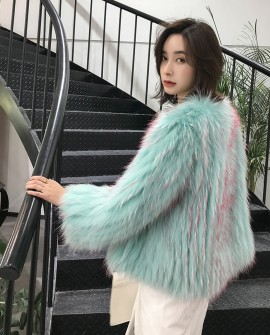 Knitted Raccoon Fur Cropped Jacket