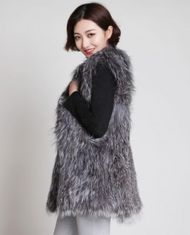 Knitted Silver Fox Fur Vest