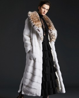 Lynx Fur Lapel Mink Fur Long Coat 0083a