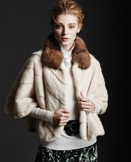 Mink Fur Cropped Jacket with Sable Fur Collar