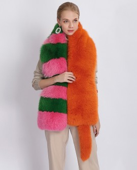 Multicolored Fox Fur Stole 372a