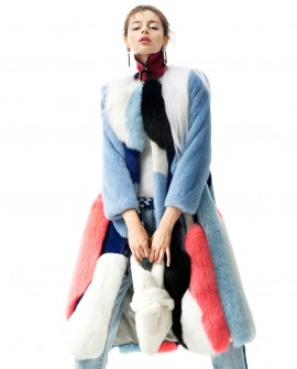 Multicolored Mink Fur Fox Fur Long Coat 0089a