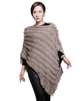 Rabbit Fur Knitted Pullover Cape with Wool Knitting