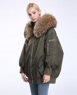 Raccoon Fur Trimming Hooded Parka with Detachable Down-filled Liner