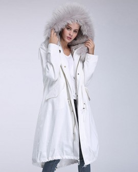 Raccoon Fur Trimming Hooded Parka with Detachable Rex Rabbit Fur Liner