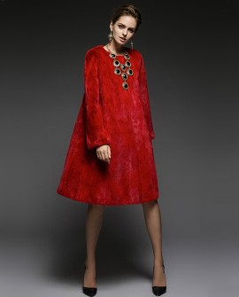 Red Mink Fur Coat