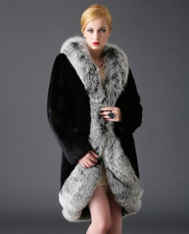 3/4 Length Rex Rabbit Fur Coat with Fox Fur Trimming