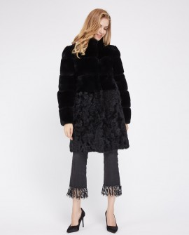 Rex Rabbit Fur Coat with Lamb Fur Half Bottom 226e