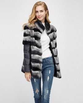 Rex Rabbit Fur Jacket with Detachable Sleeves