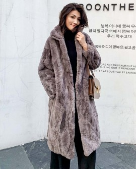 Rex Rabbit Fur Long Coat in Coffee 0036ea