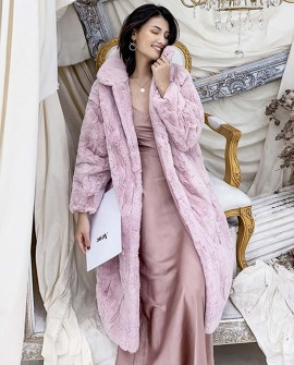 Rex Rabbit Fur Long Coat in Pink 0036db