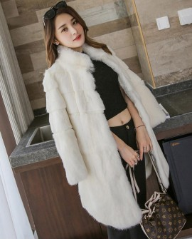 Sheared Rabbit Fur Jacket 720 Cream White 1
