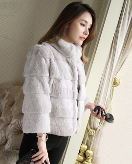Sheared Rabbit Fur Jacket 724 Gray 1