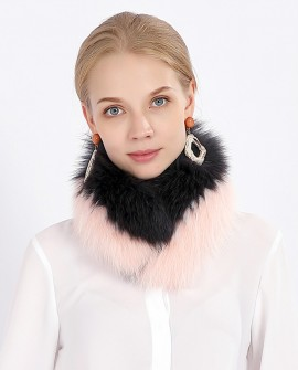Two-tone Fox Fur Scarf Neckwarmer 374a