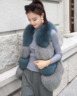 Two-tone Fox Fur Vest 0012a