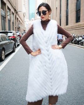 White Fox Fur Long Vest
