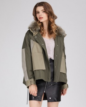 Winter Mini Parka Coat with Down-padded Liner and Fox Fur Trim