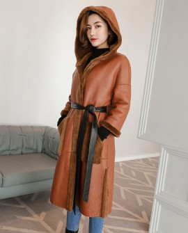 3/4 Length Merino Shearling Sheepskin Long Coat