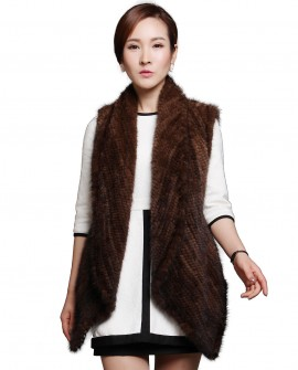 Brown Knitted Mnk Fur Vest