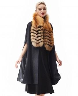 Cashmere Cape with Golden Island Fox Fur Collar