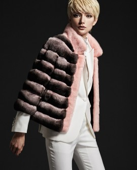 Chinchilla Fur Jacket with Mink Fur Trim