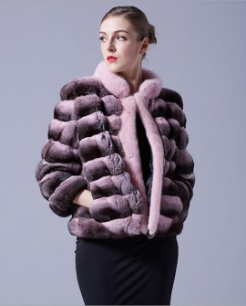 Cropped Chinchilla Fur Jacket with Mink Fur Trimming