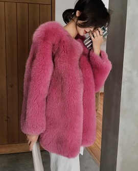 Fox Fur Coat-Hot Pink