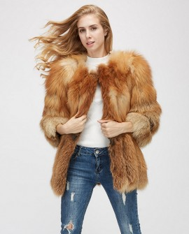 Cropped Sleeve Fox Fur Coat