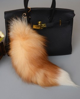 Crystal Fox Fur Tail Pendant Bag Charm