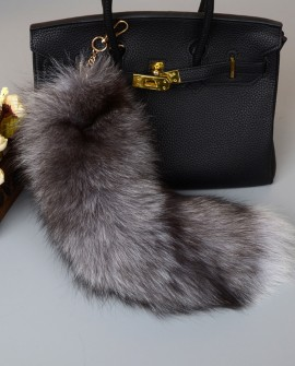 Silver Blue Fox Fur Tail Pendant Bag Charm