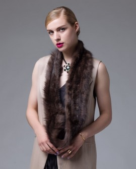 Knitted Sable Fur Infinity Scarf Wrap