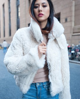 Merino Shearling Sheepskin Reversible Cropped Jacket - Cream