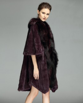 3/4 Length Mink Fur Coat with Fox Fur Trim