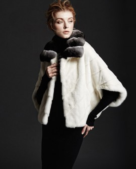 Mink Fur Cropped Jacket with Chinchilla Fur Collar