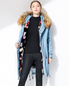 Raccoon Fur Trimmed Hooded Denim Parka with Detachable Mink Fur Liner