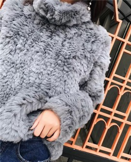 Rex Rabbit Fur Knitted Pullover Sweater Jacket