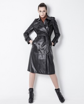 3/4 Length Sheep Leather Trench Coat