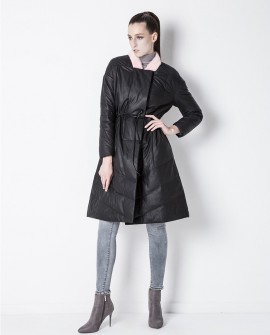 Sheepskin Leather Down-Filled Coat with Mink Fur Collar