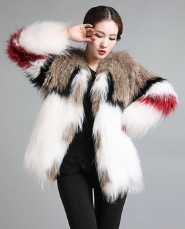 Women's Knitted Raccoon Real Fur Coat Jacket