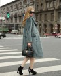 3-4 Length Double Breasted Mink Fur Coat Steal Blue 670_2
