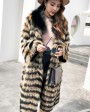 3-4 Length Fox Fur Coat with Cashmere Lining 978c