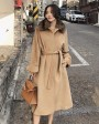 Belted Long Woolen Coat with Sable Fur Trimmed Collar 0057b